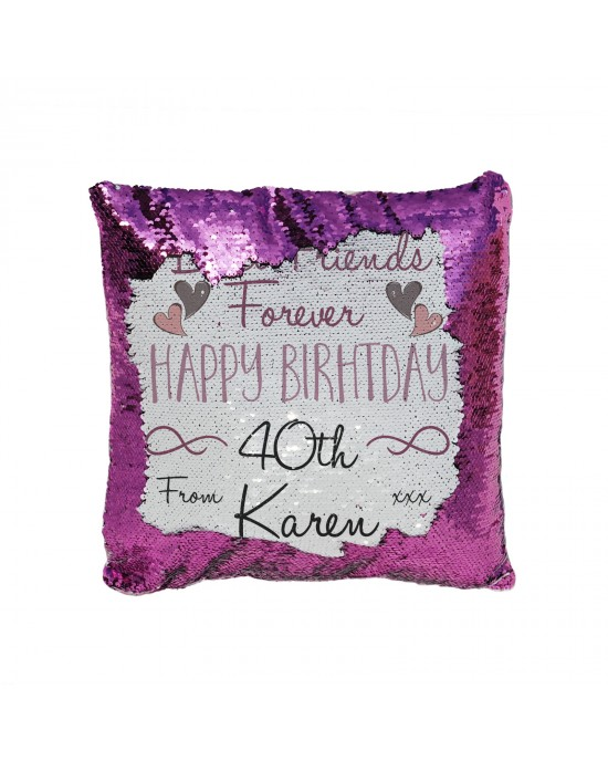 Personalised Sequin Glitter Cushion Best Friends Birthday Gift Available In Colours