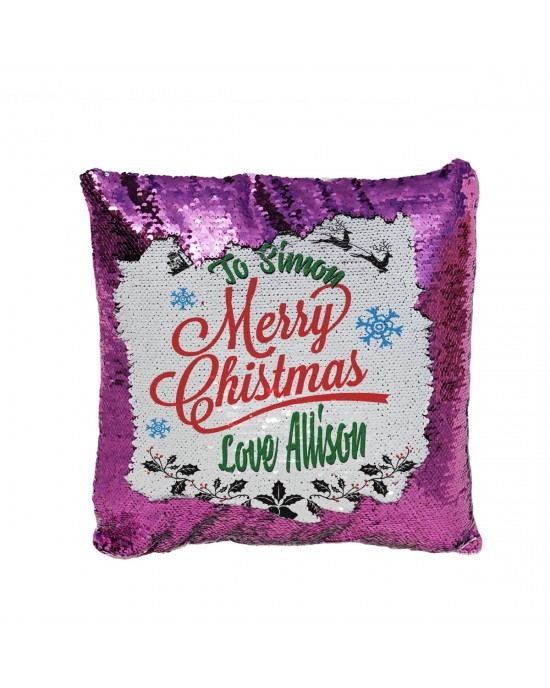 Personalised Sequin Glitter Reveal Cushion. Unique Xmas Design For a Lovely Christmas Gift.