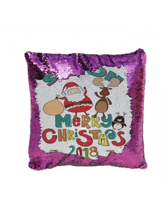 Personalised Sequin Glitter Reveal Cushion. Cute Cartoon Santa & Rudolph Design. Fab Kids Gift