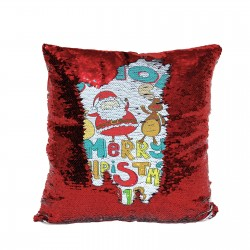 Personalised Sequin Glitter Reveal Cushion. Cute Cartoon Santa & Rudolph Design. Fab Kids Gift