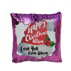 Personalised Sequin Glitter Reveal Cushion. Santa Hat Design For a great Christmas Gift