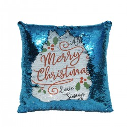 Unique Xmas Design For a Lovely Christmas Gift. Personalised Sequin Glitter Reveal Cushion.