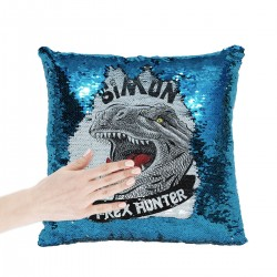 T-Rex Personalised Sequin Glitter Cushion. Available In Colours. Great Dinosaur Gift
