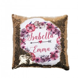 Personalised Sequin Glitter Cushion. Very Pretty Floral Design In purples. For Best friends or lovers...