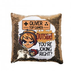 Personalised Gamer's Sequin Glitter Cushion. Available In Colours. Great Fun Gift