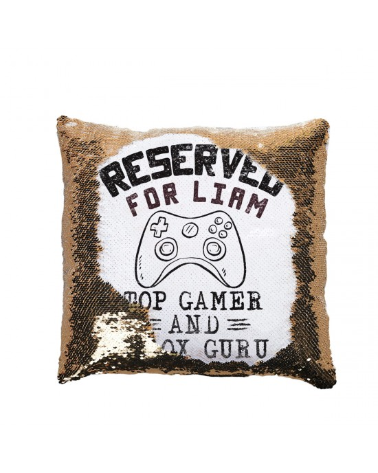 Personalised Gamer X-Box Guru Sequin Cushion great gift for a bedroom