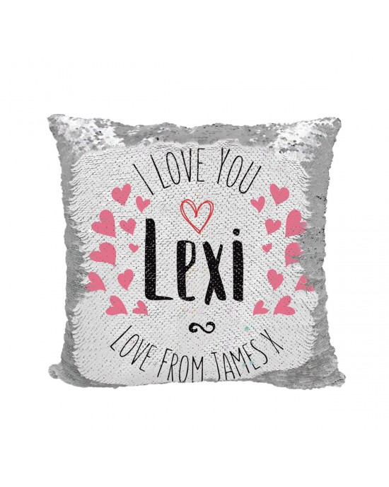 Personalised Colourful I Love You Heart Cushion. Sequin reveal cushion. Perfect gift for Romantic surprises.