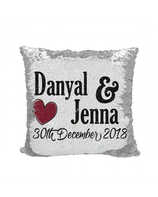 Personalised cushion with 2 names and a date for Anniversary or wedding gifts.