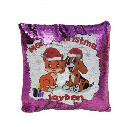 Personalised Sequin cushion Xmas Gift for a special person With a cute cartoon Xmas design with A Cat & Dog.