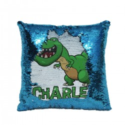 Personalised T-Rex Dinosaur Sequin Glitter Cushion. Available In Colours. Great Fun Gift