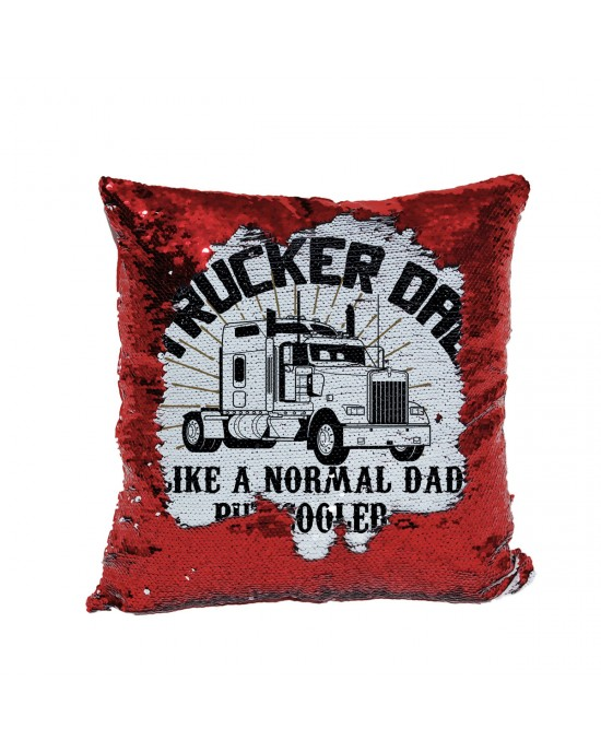 Personalised Trucker Dad, Sequin Cushion, Fab Gift for dads from their Kids