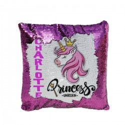 Personalised Sequin Glitter Cushion. Pretty Unicorn Design. Perfect for a Unicorn Loving Girls Gift