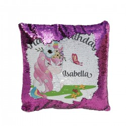 Pretty Unicorn Design Personalised Sequin Glitter Cushion. Personalised Gift.