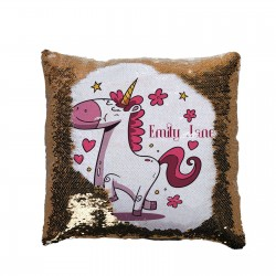 Pretty Unicorn Design Personalised Sequin Glitter Cushion. Personalised Birthday Gift.