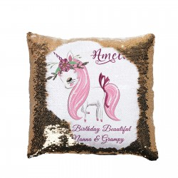 Personalised Unicorn Sequin Glitter Cushion. Personalised With Message, Available In Colours
