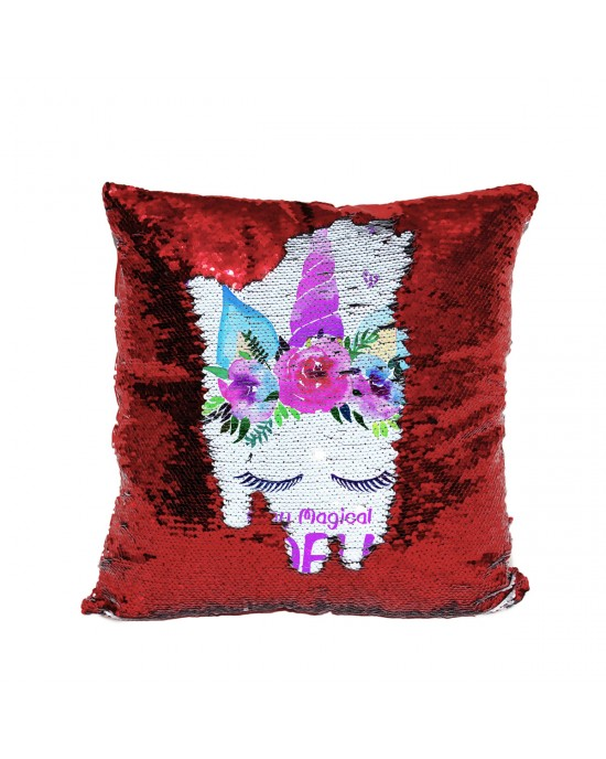 Personalised Stay Magical Unicorn Christmas Cushion. Sequin reveal cushion. Perfect gift for little girls.