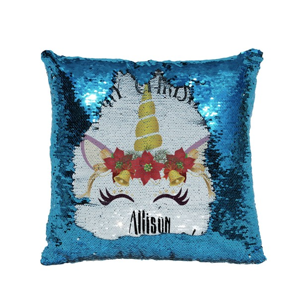Personalised Unicorn Christmas Cushion. Sequin reveal cushion. Perfect gift for little girls.