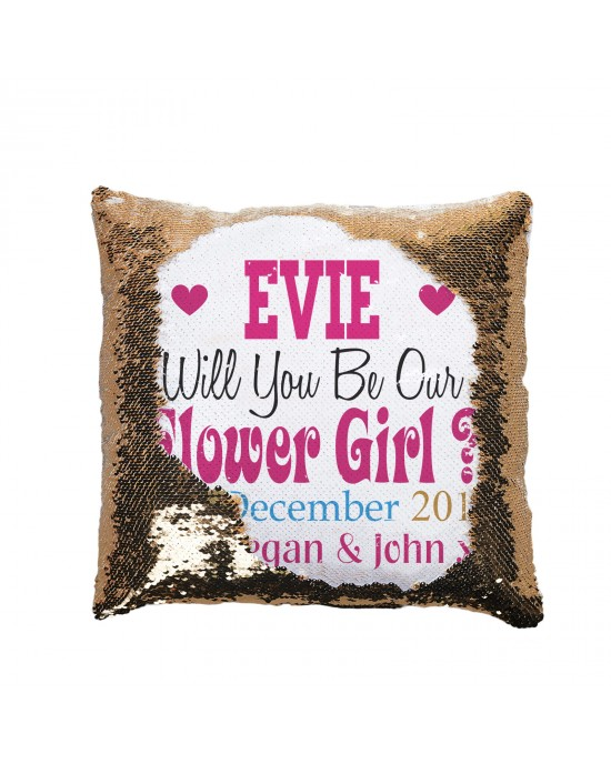 Personalised Will you Be My .... Sequin Reveal Cushion. Wedding Favour