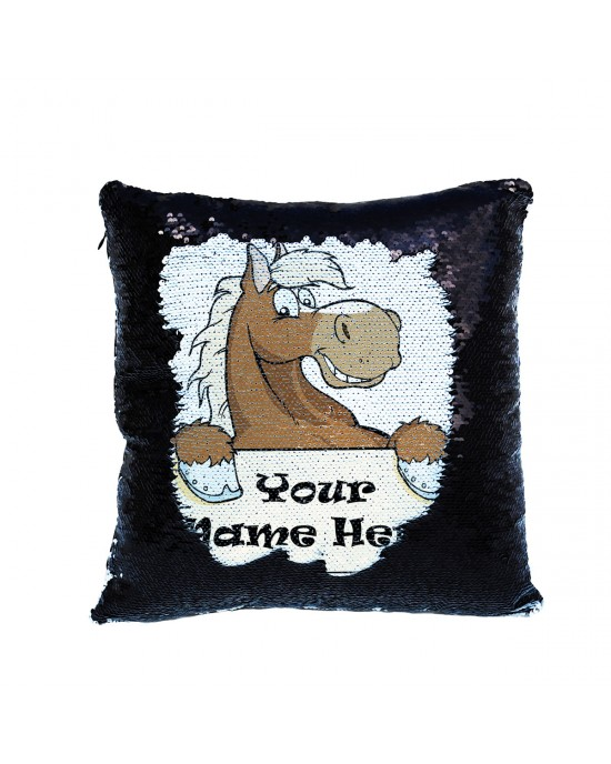 Personalised Horse Sequin Glitter Cushion. Available In Colours. Great Fun Gift