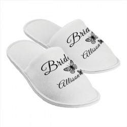 Personalised Slippers. Butterfly. Perfect Gift For Your Wedding Morning, Two Sizes