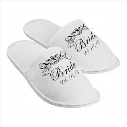 Personalised Slippers. Scroll Design. Perfect Gift For Your Wedding Morning, Two Sizes