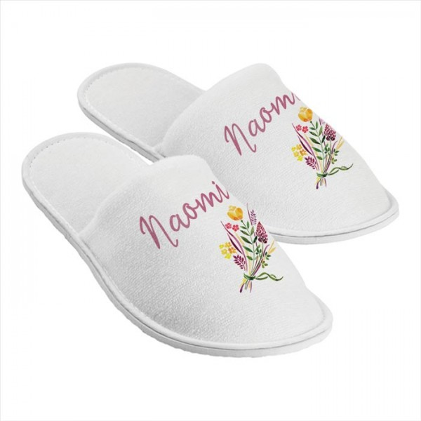 Personalised Slippers. Floral Design. Perfect Gift For Your Wedding Morning, Two Sizes