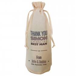Wedding Thank You Gift Change text to say thank you to Best man, Usher, Dad, Father of.. Personalised Wine Bottle Bag. String Tie or Handles