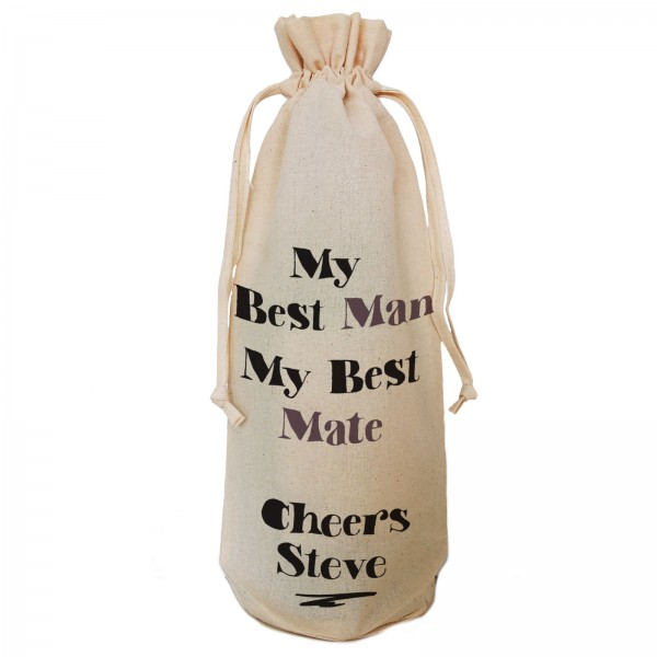 Best Man Thank you from the groom, Personalised  Natural Cotton Wine Bottle Bag. Draw String Neck Tie or Handles