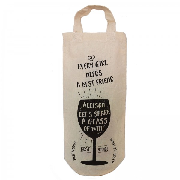 Best Friend personalised Gift bottle bag. Simple black print with the image showing wine glass and your text.