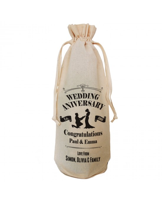 Wedding Anniversary Celebration personalised Gift bottle bag. Simple black print with the image showing a  man proposing.