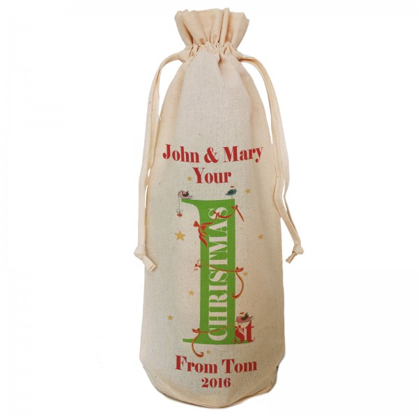 1st Christmas Personalised Bird & Ribbon design Message Bottle Bag Great gift Natural Cotton Draw String Tie. Gift With a personal message.