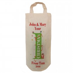 1st Christmas personalised Message Bottle Bag. With Birds & Ribbons as the design. Great gift Natural Cotton With handles. .