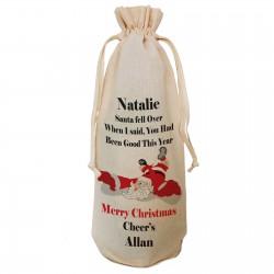 Santa Fell Over Joke, Fun Personalised Gift Bottle Bag. Great gift for Christmas, reusable Cotton Draw String Tie. Gift