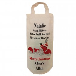 Santa Fell over Fun, humorous personalised Bottle Gift bag. A reusable Christmas Natural Cotton Bag With handles.