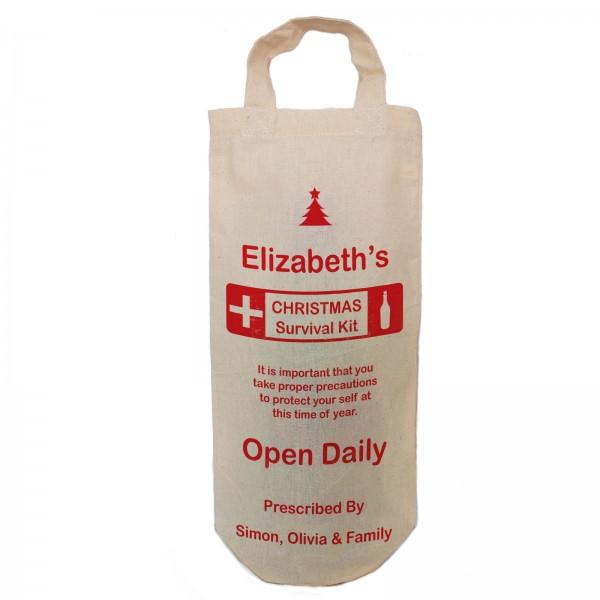 Christmas Survival Kit bottle bag, humorous, Fun, Xmas Joke personalised Bottle Gift bag. A reusable Christmas Natural Cotton Bag With handles.