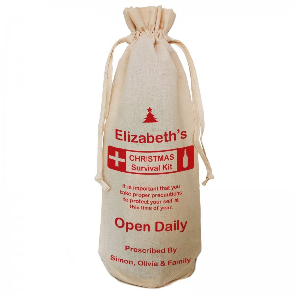 Christmas survival Kit Joke, Fun Personalised Gift Bottle Bag. Great gift for Christmas, reusable Cotton Draw String Tie.