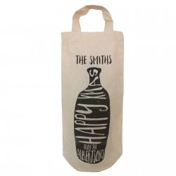 Simple Happy Xmas Black Print Bottle Design personalised Bottle Gift bag. A reusable Christmas Natural Cotton Bag With handles.