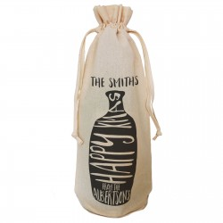 Simple Happy Xmas Black Print Bottle Design personalised Bottle Gift bag. A reusable Christmas Natural Cotton Bag Draw String Tie.