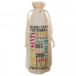 Personalised Christmas Message Gift Bottle Bag. Colourful Xmas Text Design. A reusable Christmas Natural Cotton Bag Draw String Tie.