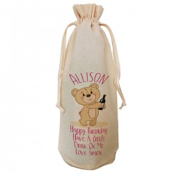 Personalised Bear Birthday Message Wine Bottle Bag
