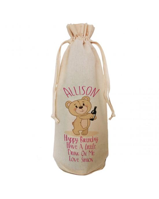 Personalised Bear Birthday Message Wine Bottle Bag