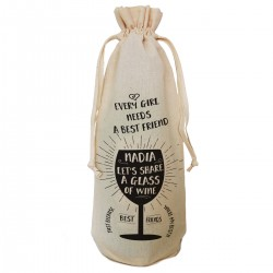 Best Friend Thank you personalised Gift bottle bag. Simple black print with wine glass image.