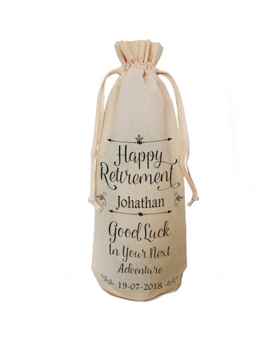 Personalised Good Luck retirement gift bottle bag.