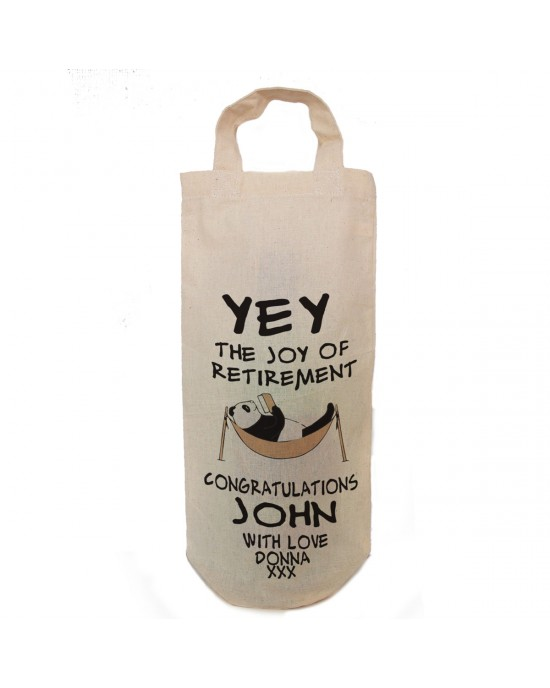 Personalised retirement gift bottle bag.