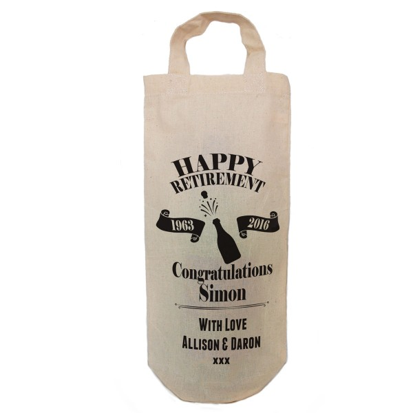 Happy Retirement Personalised Cotton Wine Bottle Gift Bag. Draw Carry Handles.