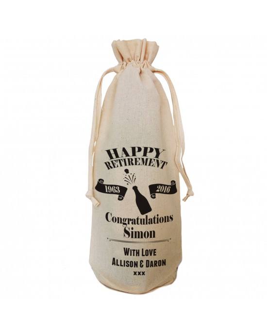 Happy Retirement Personalised Cotton Wine Bottle Gift Bag. Draw String Neck Tie.