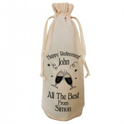 Personalised Retirement bottle bag, With draw string tie. Nice retirement Gift Bag.
