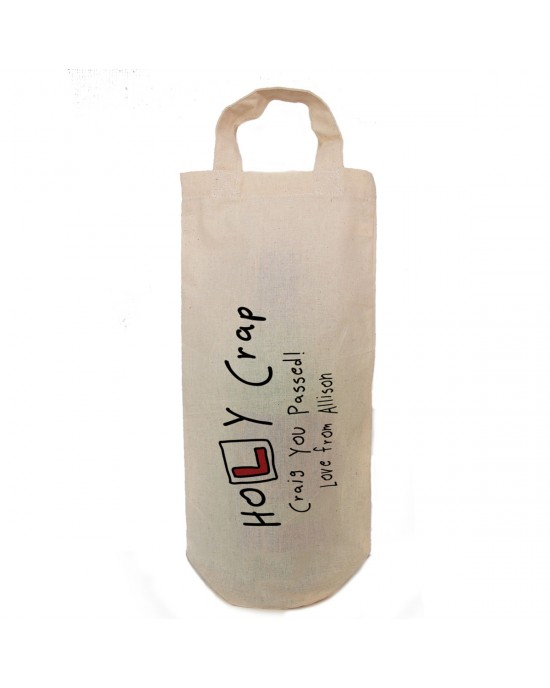 Personalised Driving test pass gift bottle bag.