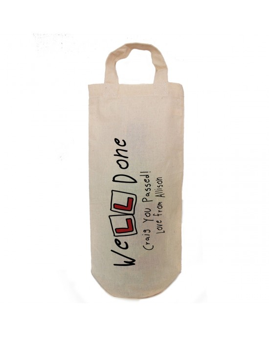 Personalised Driving test pass gift bottle bag. Well done....