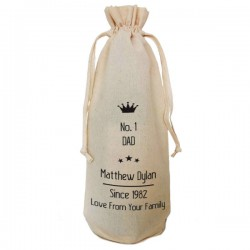 Number One Dad Personalised  Natural Cotton Wine Bottle Bag. Draw String Neck Tie Gift With a personal message.